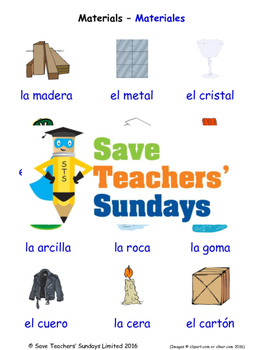 Materials in Spanish Worksheets, Games, Activities and Flash Cards