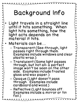 Materials in a Beam of Light Assessments and Activities Package 1-PS4-3