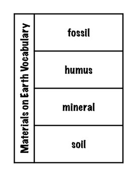 Materials on Earth Vocabulary Science Interactive Foldable