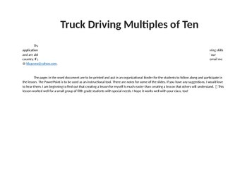 Materials to accompany Multiples of Ten PowerPoint