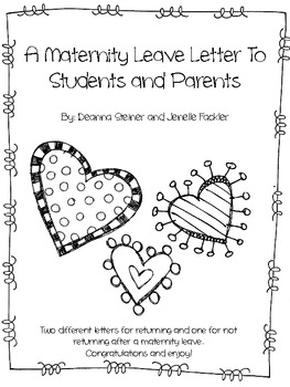 Editable maternity leave letter by dancing in our teacher for Going back to work after maternity leave letter template