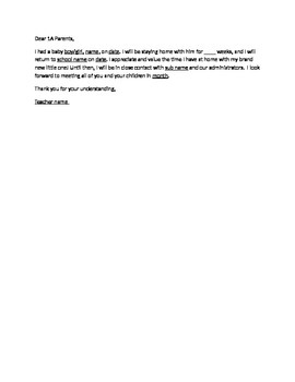 Maternity Leave Parent Letter for Beginning of year