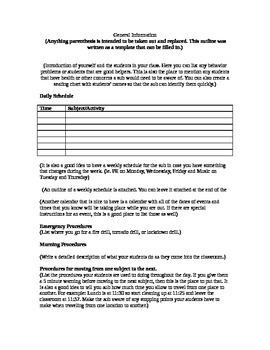 Maternity Leave Sub Plans