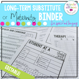 {Editable} Maternity/Long-Term Substitute Packet for Speech Therapy