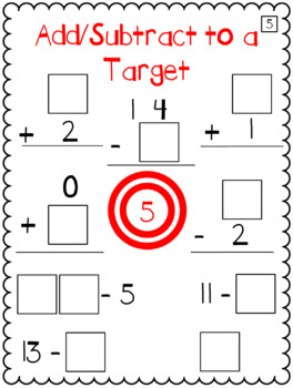 Math 0-9 Tiles - Mixed Add/Subtract to a Target
