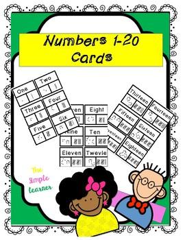 Math 1-20 number cards (task cards)