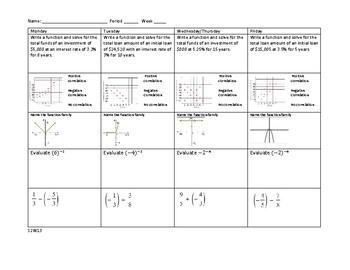 Math 1 Algebra / Geometry Spiral Review Warm Up 13/14
