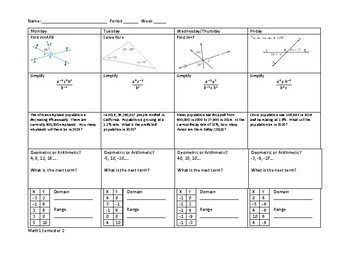 Math 1 Algebra/Geometry Spiral Review Warm Up 15/16