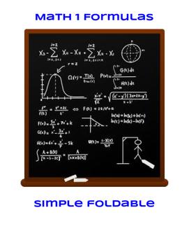 Math 1 Formulas Foldable