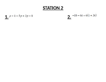 Math 1 Stations Activity