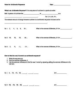 Math 1 Unit 2 Note Taking Guides