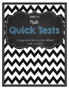 Math 1 page quick tests for 15 different concepts