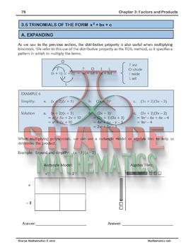 Math 10: Ch 3.5 Expanding Binomials and Factoring Trinomials