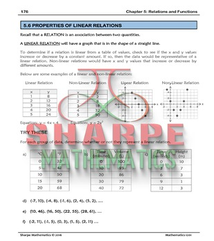 Math 10: Ch 5.6 Properties of Linear Relations