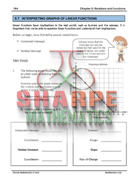 Math 10: Ch 5.7 Interpreting Graphs of Linear Functions