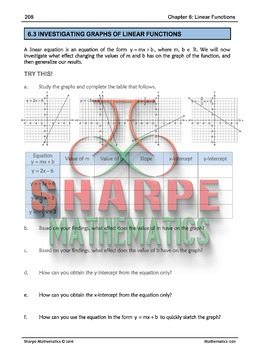 Math 10: Ch 6.3 Investigating Graphs of Linear Functions