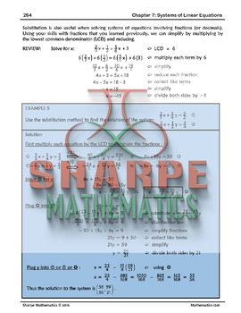 Math 10: Ch 7.4 Using Substitution to Solve a System of Linear Equations