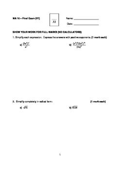 Math 10 Condensed Final Exam (Includes FULL SOLUTIONS)
