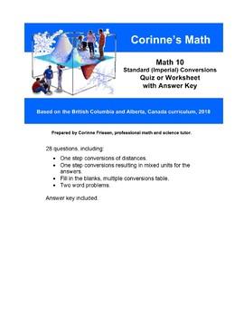 Math 10: Conversions: Standard (Imperial) Lengths, Quiz/Worksheet & Key