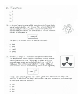 Math 10: Radicals & Exponents Test with Answer Key
