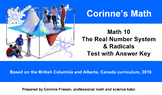 Math 10 - Real Number System & Radicals - Test