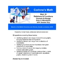 Math 10:  Relations & Functions: Domain & Range , Quiz or