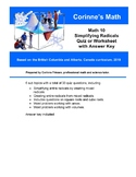 Math 10 - Simplifying Radicals, Quiz or Worksheet, with An