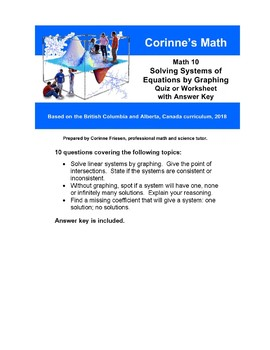 Math 10:  Solving Systems of Equations by Graphing, Quiz or Worksheet with Key