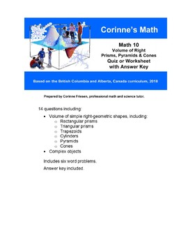 Math 10:  Volume of Right Prisms, Pyramids and Cones, Quiz / Worksheet with Key