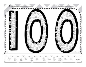Math 100th day activities/ Actividades del dia 100 in English and Spanish