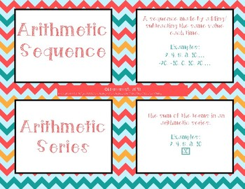 Math 20-1 Sequences & Series Vocabulary Cards