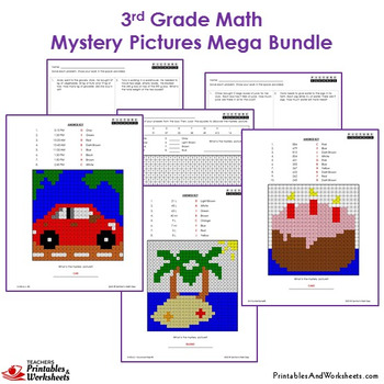 3rd Grade Math Centers and Homework Mystery Pictures Bundle