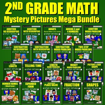 2nd Grade Math Center Activities, Homework, Mystery Pictures Worksheets Bundle