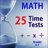 MATH FACTS | 25 Basic Time Tests (Add, Subtract, Multiply,