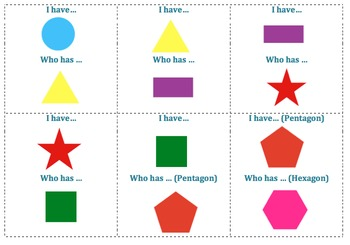 """Math 2D Shapes - """"I Have Who Has"""" Game"""