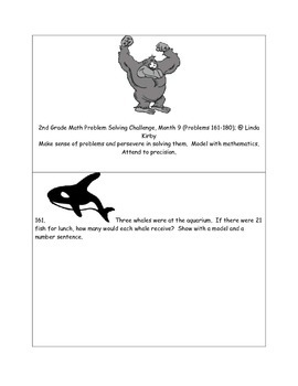 Math-2nd Grade, Month 9: Challenge Problem Solving (Questions 161-180)