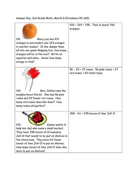 Math-2nd Grade-Month 8, Challenge Problem Solving (Questions 141-160)