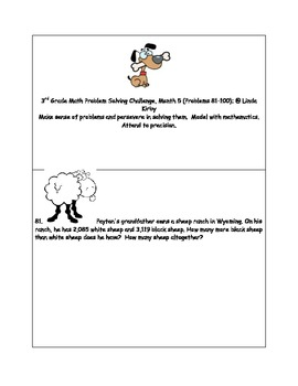Math-3rd Grade-Month 5: Challenge Problem Solving  (Questions 81-100)