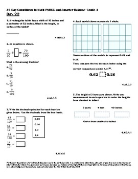 Math- 35 Day Countdown to PARCC and Smarter Balance- Grade 4