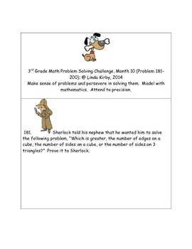 Math-3rd Grade-Month 10: Challenge Problem Solving (Questi