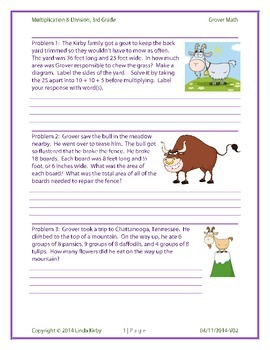 Math-3rd Grade, Grover the Goat, Multiplication/Division Challenge Word Problems