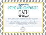 Math 4 Days- Prime and Composite Differentiated Weekly Work