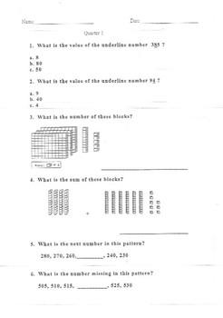 Math- 4 Grade 2 Quarter Math benchmarks