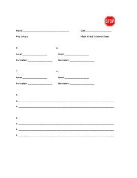 Math 4 Mod 3 Lessons 1-3 (Teacher Created) TEST