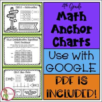 math 4th grade anchor charts for students black white by mrs c s