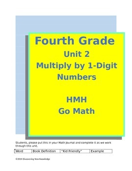 Go Math - 4th Grade Unit 2 Multiply by 1-Digit Numbers