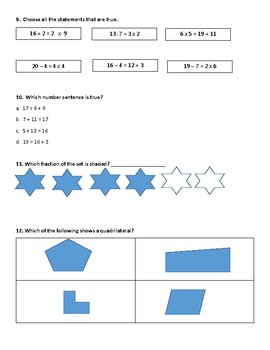 Math 4th Grade SOL Review TEI Included