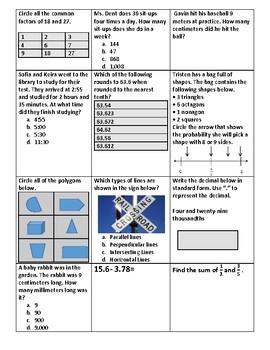 Math 4th Grade SOL TEI REVIEW