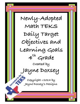 Math 4th Grade TEKS Daily Target Objectives