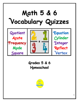 Math 5 & 6 Vocabulary Quizzes